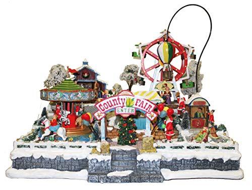 25 twentyfive Pueblo navideño con Parque de Atracciones Animado, Luces y música - 44 x 36 x 40 cm