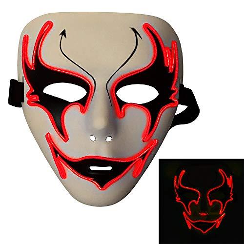 Bonamana Licht Leuchten Maske Kostüm EL LED Draht Halloween Maske Tod Grimasse Masken Masquerade (Rot)