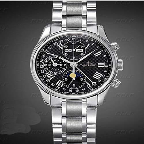DFGHU Herrenuhr Edelstahl Saphirglas Automatikaufzug Mechanische Uhr Braun Blau Lederarmband Business wasserdichte Uhr