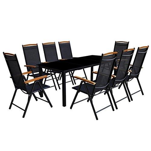 LD eettafel aluminium zwart 9-TLG. Tuinmeubelen Lounge Tuinset