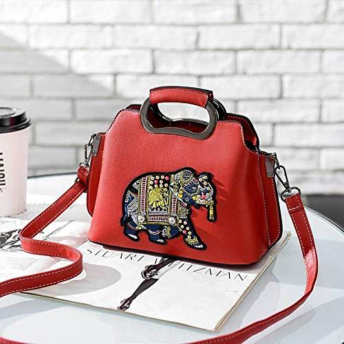 Thumby Handtas handtassen olifant borduurwerk tropische stijl kleur shell tas schouder slung pakket, Wijn rood, Een maat