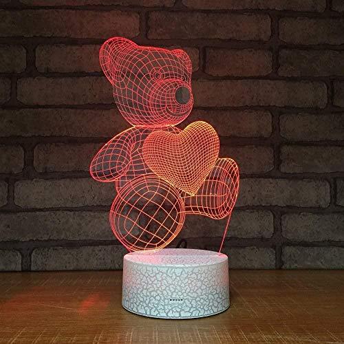 Luces de noche LED Patrón de estallido 3D Oso pequeño Luz LED Noche Acrílico Interfaz USB Lámpara 3D Regalo creativo USB LED Accesorios de luz 3D