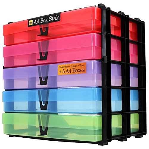 WestonBoxes A4 Box Stak, Aufbewahrungseinheit inkl. 5 A4 Boxen (Mehrfarbig, 1 Stück)