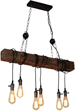 Farmhouse Lighting Rustic Chandelier Dining Room Lighting Fixtures Hanging Farmhouse Chandelier Chandeliers 6 E26 Bulb Sockets Industrial Suspension Light Line Can Be Adjusted Freely (with Switch)