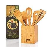 bambuswald ökologisches 6er Set Küchenzubehör inkl. Aufbewahrungsbox | Kochbesteck aus 100% nachhaltigem Bambus - Pfannenwender Set Küchenhelfer Kochlöffel Küchenutensilien
