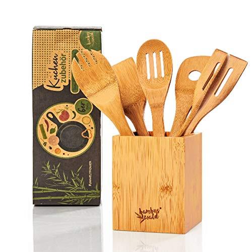 bambuswald© ökoligsches 6er Set Küchenzubehör inkl. Aufbewahrungsbox | Kochbesteck aus 100% nachhaltigem Bambus - Pfannenwender Set Küchenhelfer Kochlöffel Küchenutensilien
