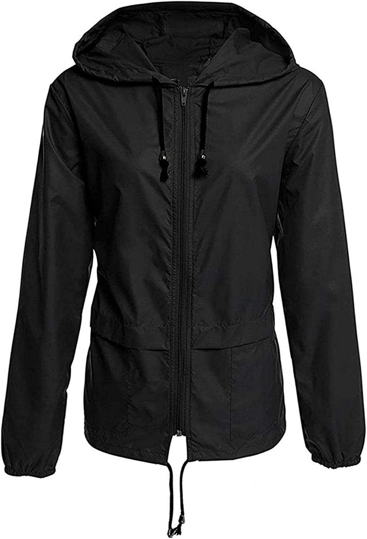 Women's Lightweight Anorak Hooded Zipper Waterproof Raincoat Packable Windbreaker Utility Thin Jackets