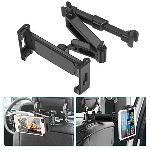 Car Headrest Mount, SAWAKE Angle Adjustable Headrest Tablet Mount, Universal Tablet Holder for Car Backseat, for 5' to 14' iPad/Tablet/Smartphone/Nintendo Switch
