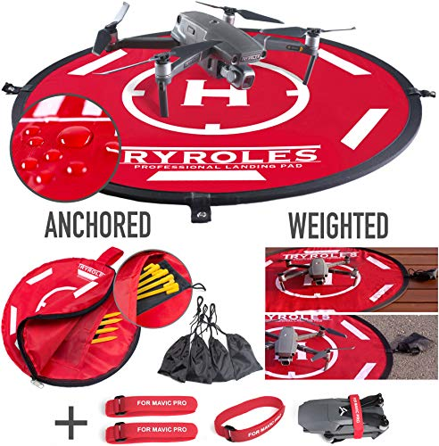 """30"""" Weighted OR Anchored Drone Landing Pad, Waterproof. Functional Carrying Bag, Stash Pocket + Propeller Fixing Strap. for All Drones up to 12' for All DJI"""