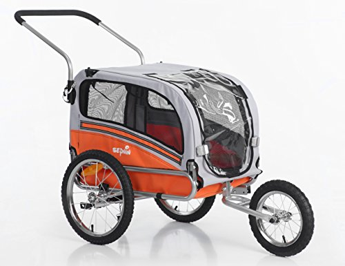 Sepnine & Leonpets pet Carry of 2 in1 pet Dog Bike Trailer Bicycle Trailer and Jogger 20303 Orange…