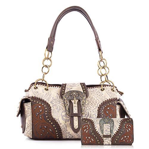 Montana West Leather Buckle Tote Bag Concealed Carry Handbag For Women Western Shoulder Bag MW823G-8085WCF