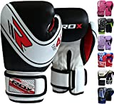 RDX Kids Boxing Gloves, 6oz 4oz Junior Training Mitts, Maya Hide Leather Ventilated Palm, Muay Thai Sparring MMA Kickboxing Fighting, Punch Bag Speed Ball Focus Pads Punching Workout, Youth Games Fun