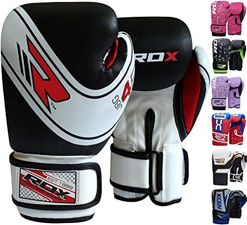 RDX Boxhandschuhe Kinder Muay Thai Boxsack Training Sparring Kickboxen Sandsack Junior Maya Hide Leder Boxing Gloves, Schwarz, 4 oz