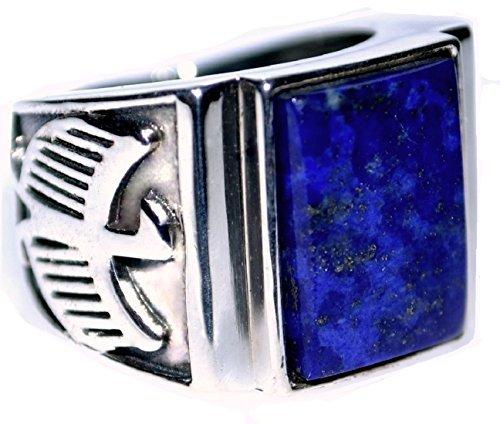 Herren 925 Sterlingsilber blau Lapis Herren Ring, Adler Logo Antik Optik Signet Ringe ! Größen P bis Z + 5 - Blau