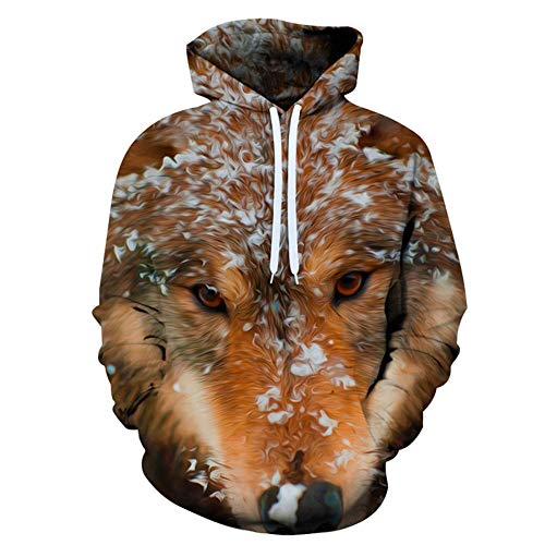 3D Printed Wolf Head Animal Hooded Sweatshirt,Long-Sleeved Pullover with Pockets,Neutral Drawstring Casual...