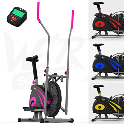 We R Sports 2-in-1 Ellittico Attraversare Allenatore & Esercizio Bici Casa Fitness Cardio Allenamento Macchina (Rosa)