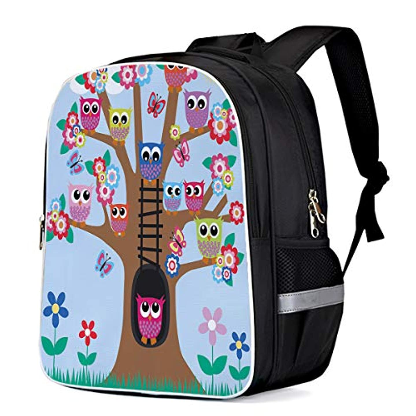 Cute Owls on Tree School Book Backpack for Teens Boys Girls, Colorful Animal Carry Bag for Day Trips Mountain Sports (Large)