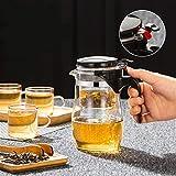 JINSUO Tetera de Vidrio Resistente al Calor con infusor de Acero Inoxidable Contenedor de Recipiente con calefacción Pote de té Bueno de Kettle Claro Cestas de Filtro Cuadrado (Talla : B 500ml)