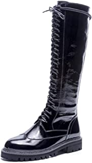 Nine Seven Women's Genuine Leather Round Toe Lace Up Side Zipper Boots - Handmade Low Heel Knee High Boots