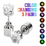 5 Pairs Led Earrings, IC ICLOVER Changing Color Light Up Earring Diamond Crown Studs Christmas Flashing Blinking Dance Party Accessories Glowing up Decoration for Men Women boys girls female