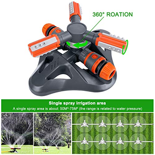 XDDIAS Lawn Sprinkler, Automatic 360° Rotating Irrigation System Water Sprinklers for Garden, Yards and Lawns