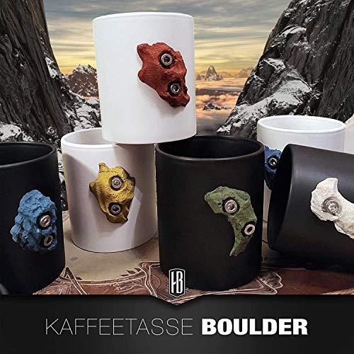 Kaffeetasse matt schwarz oder weiß mit Boulderstein Klettergriff aus dem Klettersport für den Kletter- und Outdoorfan