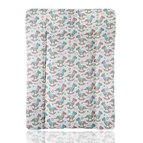 Wickelauflage Baby 50x70 cm NEU Design 100% Baumwolle Öko-Tex Standard 100 (Schaukelpferd)