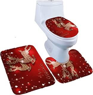 HHmei 3PCS Christmas Bathroom Non-Slip Pedestal Rug + Lid Toilet Cover + Bath Mat Set Decorations Outdoor Tree Table Lights Blue Home Set Silver Wall Ornaments Party Hats 51A