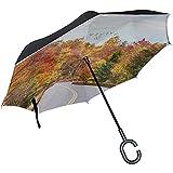Paraguas invertido Otoño Colorido Hoja Madera Paraguas inverso Protección UV A Prueba de Viento para Coche Lluvia Sol Al Aire Libre Negro