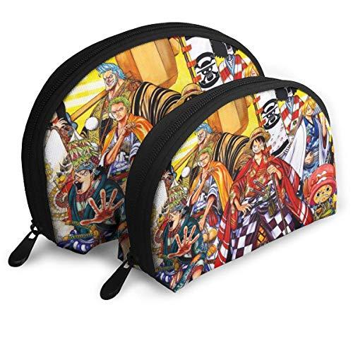 Bolsa de maquillaje de anime con forma de concha portátil bolsa de embrague monedero multifunción organizador para mujeres viaje impermeable con cremallera bolsas de almacenamiento 2 piezas