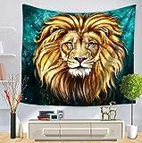 KDENDGGA Majestic Golden Lion King Tapiz Tapiz Colgante De Pared Arte De La Pared Tela Decoración para El Hogar Toalla De Playa Yoga Mat 200 * 150 Cm