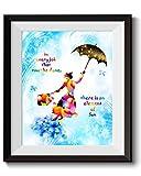 Uhomate C028 Kunstdruck auf Leinwand, Mary Poppins Zitat in