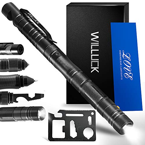 WILLUCK Gifts for Dad Men Husband Him,Tactical Pen,Valentines Gifts for Him,LED Flashlight,Christmas Stocking Stuffers,Cool & Unique Anniversary Birthday Ideas for Him Boyfriend,Gift Box