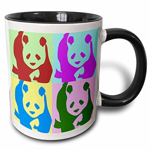 3dRose mug_51439_4'Colorful Pandas - Fun Animal Art' Two Tone Black Mug, 11 oz, Multicolor