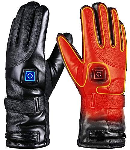 Qdreclod Beheizte Handschuhe für Herren Damen, 4000mAh Beheizte Lederhandschuhe Wiederaufladbare Lithium-Ionen-Batterie Beheizbare Handschuhe Fahrrad Motorrad Winterhandschuhe Ski-Handschuhe