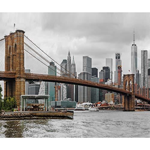 decomonkey Fototapete New York 300x210 cm Design Tapete Fototapeten Vlies Tapeten Vliestapete Wandtapete moderne Wand Schlafzimmer Wohnzimmer Stadt Architektur Brücke
