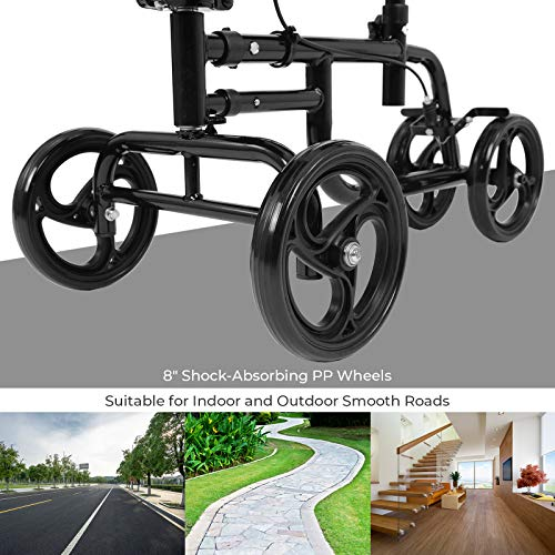 Bable Knee Walker with Basket, Steerable Knee Scooter with Dual Braking System Crutches Alternative, Foldable Leg Walker Black