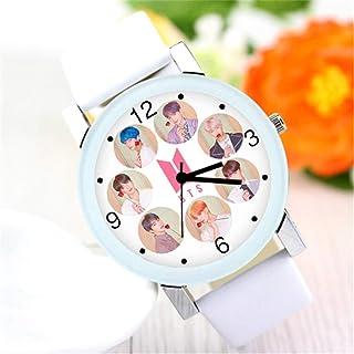 Kpop BTS Bantan Boys Men Men Casual Leather Casual Quartz Watches Role Quartz Wristwatches Unisex Student Student (A)