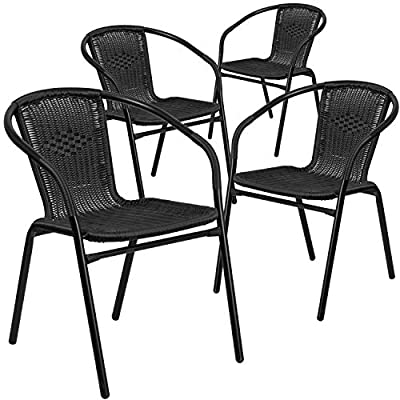 Flash Furniture 4 Pk. Black Rattan Indoor-Outdoor Restaurant Stack Chair