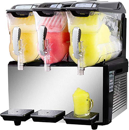 VBENLEM 110V Slushy Machine 30L Triple Bowl Margarita Frozen Drink Maker 1250W Automatic Clean Day and Night Modes for Supermarkets Cafes Restaurants Snack Bars Commercial Use