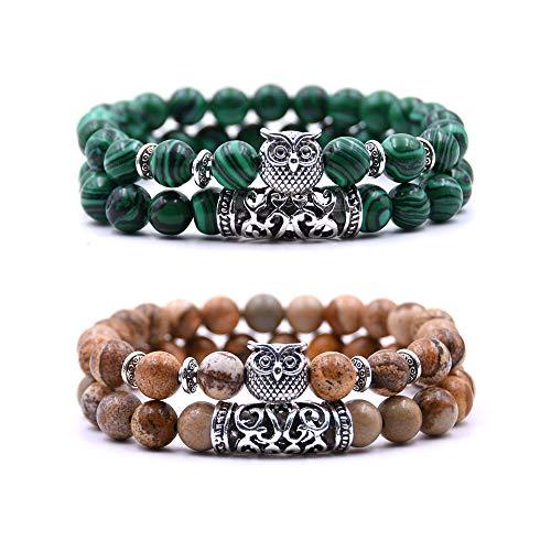 crintiff - Quatre Bracelets Chouette en Perles avec amulette tête de Chouette - Bracelets Porte Bonheur - Couleur Vert et Marron