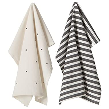 Hearth & Hand with Magnolia Black/Cream Kitchen Towels Dish Towels Stripe Farmhouse 2 PC Set Choose Your Own (Black/Cream Set of 2)