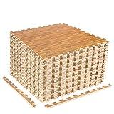CCLIFE Esterilla Puzzle de Fitness 60x60x1cm 30x30x1cm Suelo de Gimnasio de Goma Espuma EVA, Color:Madera 32pcs 60x60x1cm