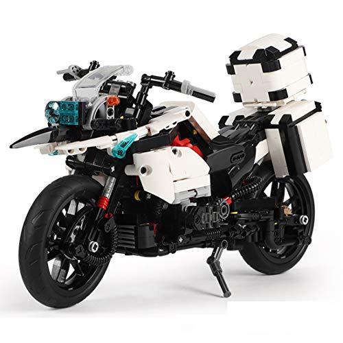 Teakpeak Technik Motorrad, 1075 Teile Technik Patrouillenmotorrad Modell Motorrad Bausteine, kompatibel mit Lego Technik
