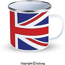 Union Jack Sportsmans Camping Enamel Travel Mug,Classic Traditional Flag United Kingdom Modern British Loyalty Symbol Decorative Outdoor Enamel Mug,Royal Blue Red White