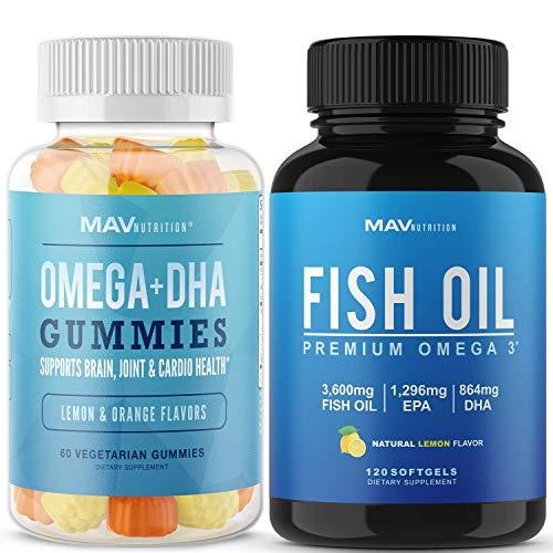 MAV Nutrition   Fish Oil Gummies 60 Count   Omega 3 Fish Oil Capsules 120 Count   for Immune, Heart & Brain Support  