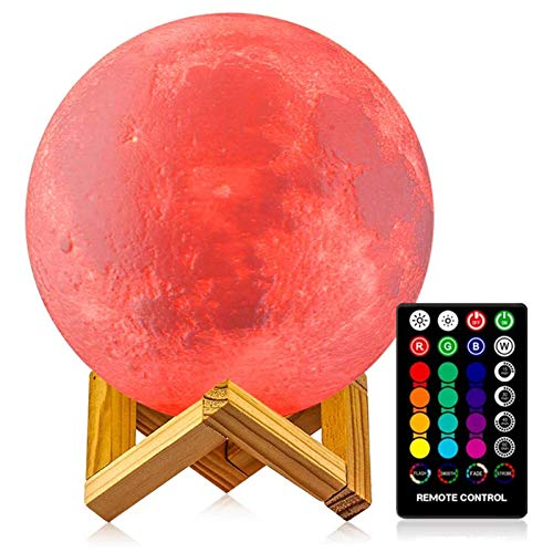 Moon Lamp - LOGROTATE 16 Colors, Dimmable, Rechargeable Lunar Night Light (5.98 inch) Full Set with Wooden Stand, Remote & Touch Control - Cool Nursery Decor for Baby Kids Bedroom, Birthday Day Gifts
