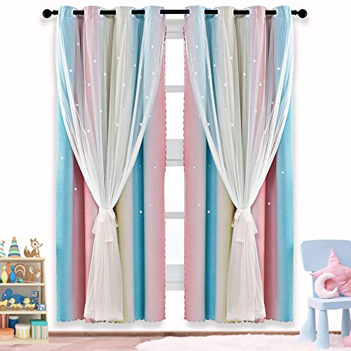 ARTBECK Star Curtains Kids Curtains for Girls Bedroom Living Room Rainbow Ombre Stripe Blackout Curtain Double Layer Star Cut Out Gradient Grommet Window Curtains (1 Pc | 42W x 63L, Stripe Rainbow)
