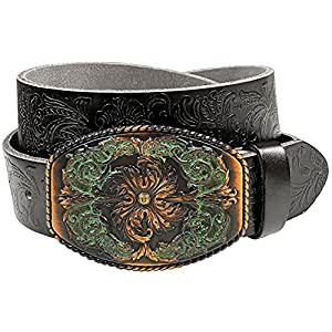 Western Full Grain Genuine Leather Belt With Floral Engraved Buckle 22