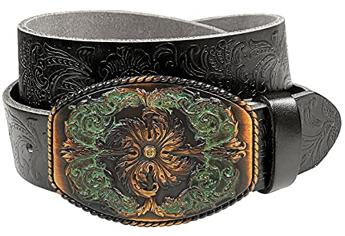 Western Full Grain Genuine Leather Belt With Floral Engraved Buckle 1